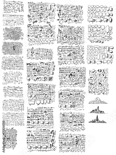 MEGA set of doodles vector. Super collection of business, bubble, city eps10 Wall mural