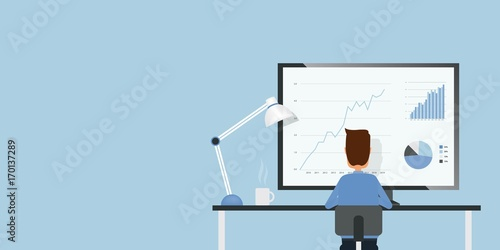 flat businessman analyze finance and investment graph report monitor and business people working concept