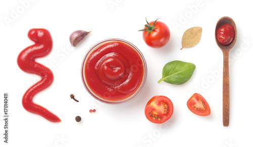 Fotografie, Obraz  tomato sauce in bowl isolated on white
