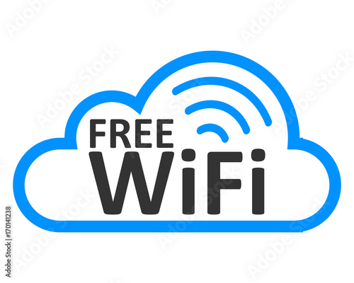 Fotografía  Free wifi logo zone in cloud – stock vector