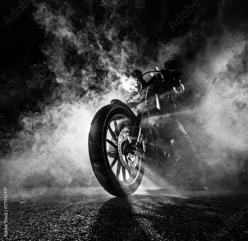 Fotografie, Obraz High power motorcycle chopper at night.