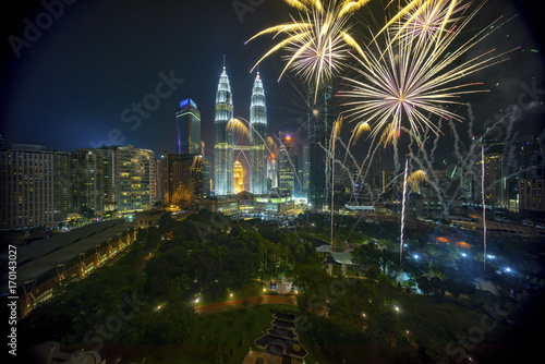 Fireworks display show over Kuala Lumpur city skyline Canvas Print