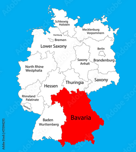 Bavaria State Map Germany Vector Map Silhouette Illustration