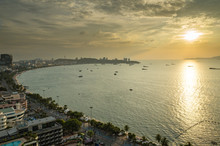 Sunet At Pattaya Bay From Top View, Thailand, Asia