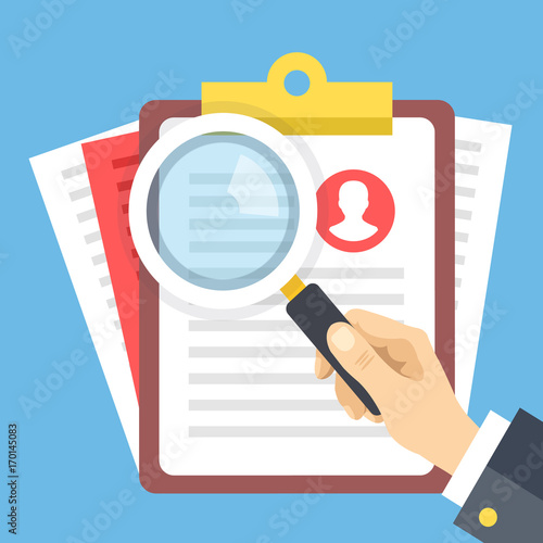 Clipboard With Job Candidate Profile Hand Holding Magnifying Glass