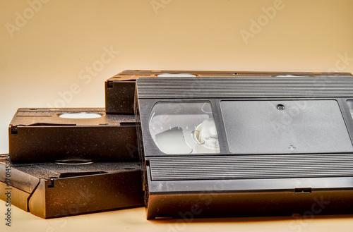 Vintage videotapes on beige background. HDR effect. Wallpaper Mural