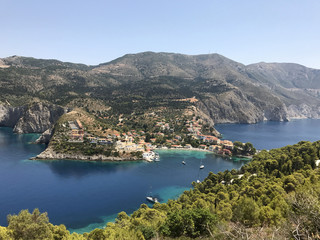Fototapeta na wymiar A view of Assos village on its bay in Cephalonia or Kefalonia, Greece