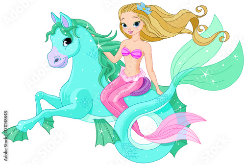 Stickers pour porte Magie Beautiful Mermaid Riding Sea Horse