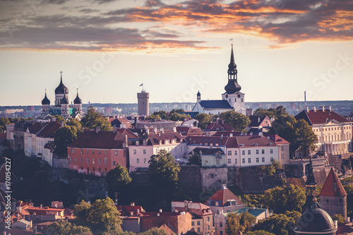 Deurstickers Amsterdam Tallinn, the capital of Estonia, is a beautiful city sunset landscape. View of the old town