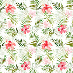 Fototapeta Seamless pattern with watercolor with tropical flowers and leaves.