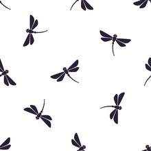 Seamless Vector Illustration. Pattern With Silhouettes Of Flying Dragonfly With Curved Body On White Background