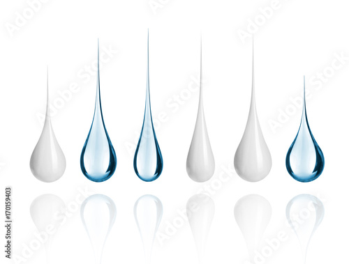 Valokuva  Set of different milk and water drops close-up, isolated on white background