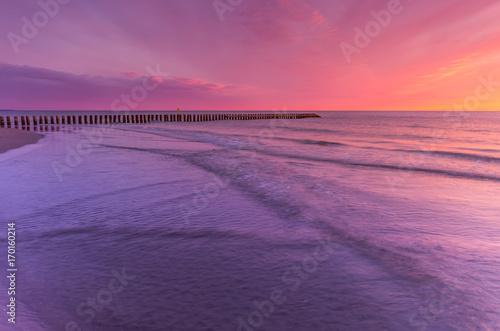 Wall Murals Light pink Baltic seascape at sunset, Poland