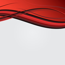 Abstract Bright Soft Design Background With Red Wavy Curved Lines In Dynamic Smooth Style. Curved Lines In Elegant Smooth Style. Vector Illustration