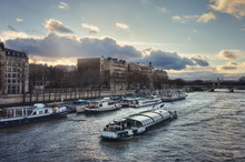 The Seine River And The Quai Anatole France At Sunset