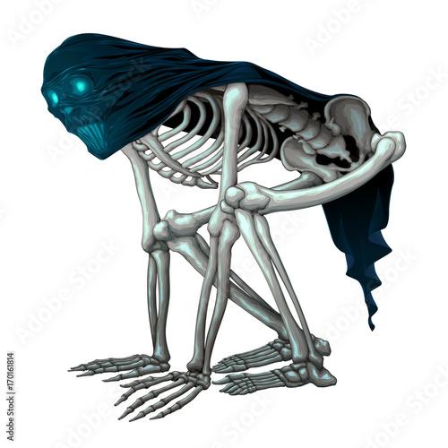 Staande foto Kinderkamer Skeleton monster with veil on skull