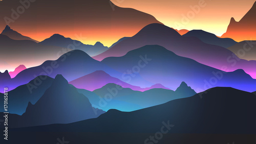 Sunset or Dawn Over the Mountains Landscape - Vector Illustration #170165878