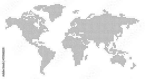 Photo  World Map with pixels - stock vector