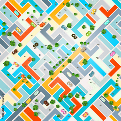 Foto op Canvas Op straat Abstract City Top View. Town with Cars, Trees and People. Vector Illustration.