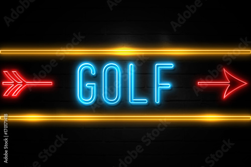 Golf  - fluorescent Neon Sign on brickwall Front view Canvas Print