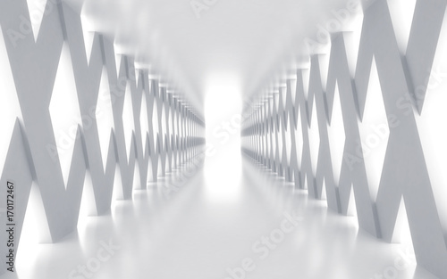 white-corridor-with-lights-3d-rendered-image