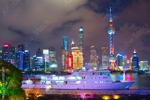 Photo  Shanghai skyline at night, China