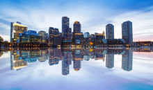 Boston Skyline From Downtown Harborwalk At Night
