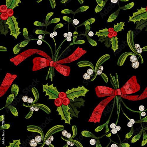 Stoffe zum Nähen Sticken Weihnachten Musterdesign mit Mistel.
