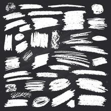 Set Of White Strokes On Chalkboard. Vector Illustration.