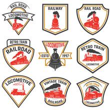 Set Of Emblems Templates With Retro Train.