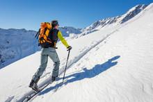 Male Ski Tourer Hiking In The ...