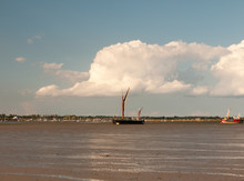 Moored Sea Vessel London Barge In Black Water Tide Out Maldon