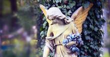 Vintage Image Of A Sad Angel A...