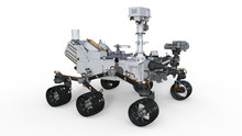 Mars Rover, Automated Space Motor Vehicle Isolated On White Background, 3D Illustration