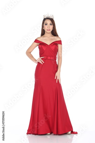 Miss Pageant Contest In Evening Ball Gown Long Ball Dress With