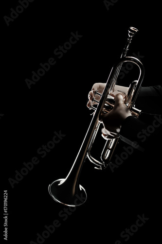 Stickers pour porte Musique Trumpet player. Trumpeter music playing jazz