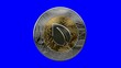 A rotating peer coin cryptocurrency physical gold and silver coin on a dark background