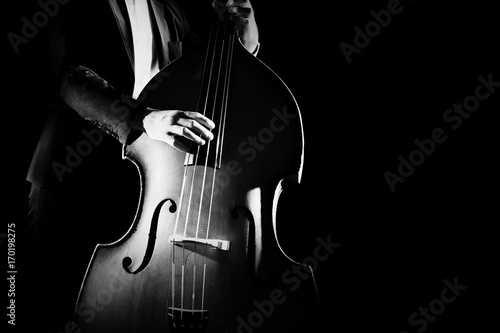 Photo sur Aluminium Musique Double bass player playing contrabass musical instrument