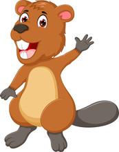 Funny Marmot Cartoon Waving Ha...