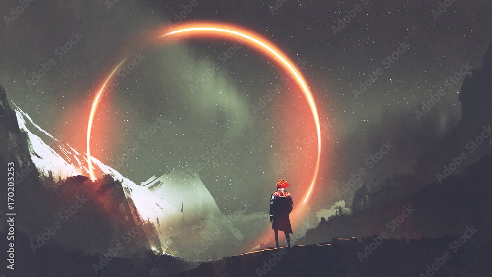 Fototapeta man standing in front of red light circle, digital art style, illustration painting