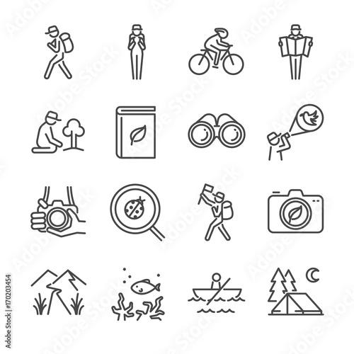 Fotografia  Eco tourism line icon set