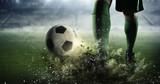 Fototapeta Fototapety sport - Soccer goal moment. Mixed media