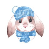 Cute rabbit in blue hat. Watercolor illustration. Isolated on white background - 170208410
