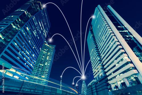 Fotografía  Smart city and internet line in blue tone, wireless communication network line o