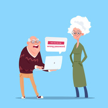 Couple Senior People Using Laptop Computer Modern Grandfather And Grandmother Full Length Flat Vector Illustration