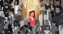 Businesswoman Leader Stand Out From Crowd Individual, Spotlight Hire Human Resource Recruitment Candidate People Group Business Team Concept Vector Illustration