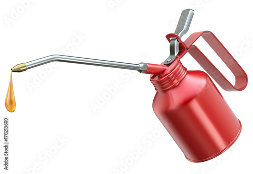Cuadros en Lienzo Red oil can with big droplet isolated on white background