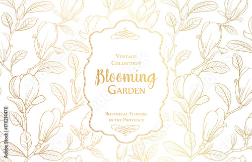 White Invitation Card Design With Text Blooming Garden Light