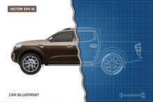 Drawing Of The Car On A Blue Background. Side View Of Pickup. Industrial Blueprint Of SUV. Vector Illustration