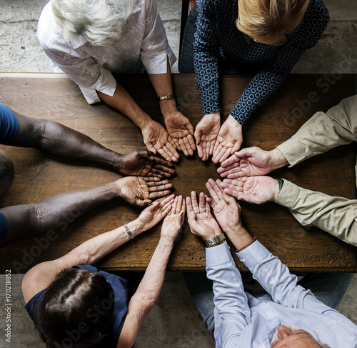 Valokuva  Group of christianity people praying hope together
